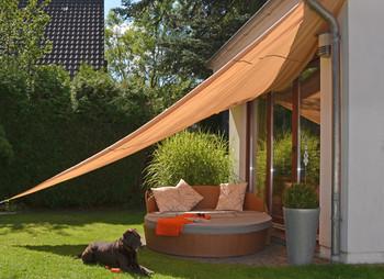 dreieckiges Sonnensegel, 5 Meter, beige, Polyester - Dreieck Sonnenschutz Sonnendach Beschattung UV Schattensegel