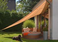 dreieckiges Sonnensegel, 5 Meter, beige, Polyester - Dreieck Sonnenschutz Sonnendach Beschattung UV Schattensegel 001